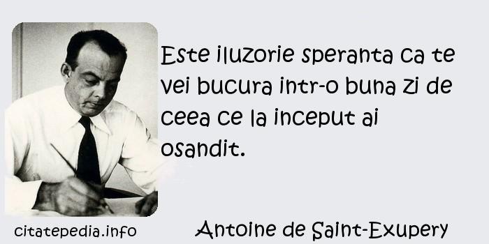 Antoine de Saint-Exupery - Este iluzorie speranta ca te vei bucura intr-o buna zi de ceea ce la inceput ai osandit.