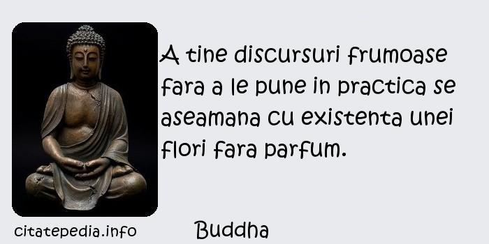 Buddha - A tine discursuri frumoase fara a le pune in practica se aseamana cu existenta unei flori fara parfum.
