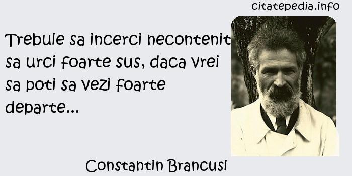 Constantin Brancusi - Trebuie sa incerci necontenit sa urci foarte sus, daca vrei sa poti sa vezi foarte departe...