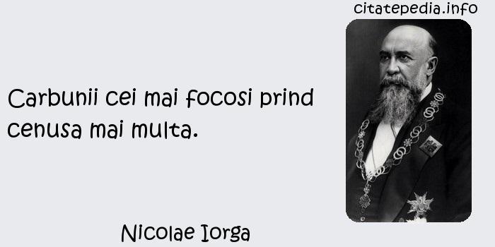 Nicolae Iorga - Carbunii cei mai focosi prind cenusa mai multa.