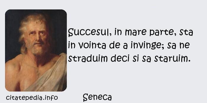 Seneca - Succesul, in mare parte, sta in vointa de a invinge; sa ne straduim deci si sa staruim.