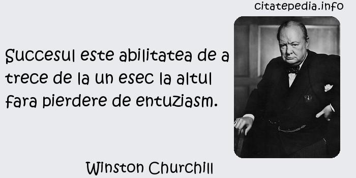 Winston Churchill - Succesul este abilitatea de a trece de la un esec la altul fara pierdere de entuziasm.