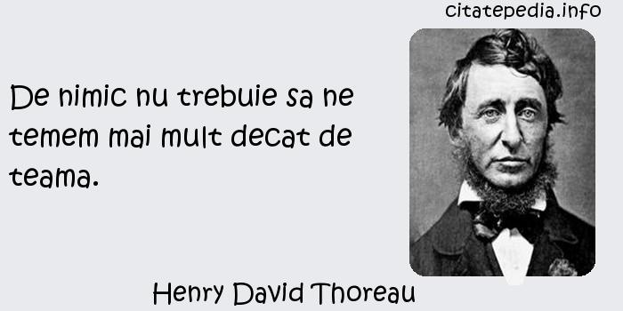 Henry David Thoreau - De nimic nu trebuie sa ne temem mai mult decat de teama.