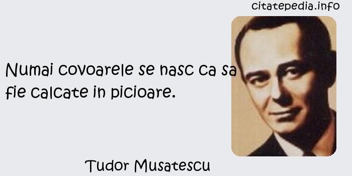 Tudor Musatescu - Numai covoarele se nasc ca sa fie calcate in picioare.
