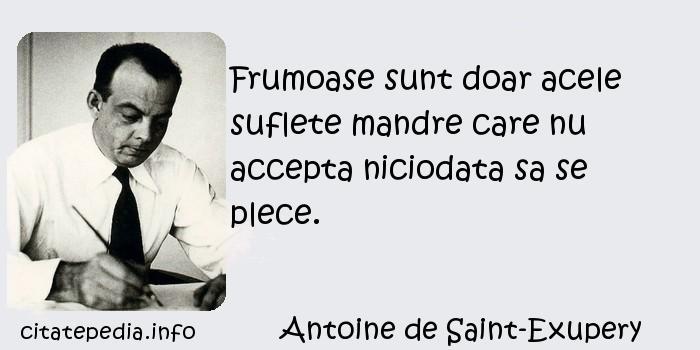 Antoine de Saint-Exupery - Frumoase sunt doar acele suflete mandre care nu accepta niciodata sa se plece.