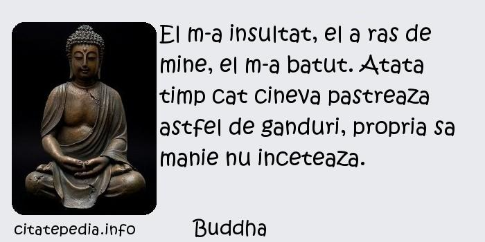 Buddha - El m-a insultat, el a ras de mine, el m-a batut. Atata timp cat cineva pastreaza astfel de ganduri, propria sa manie nu inceteaza.
