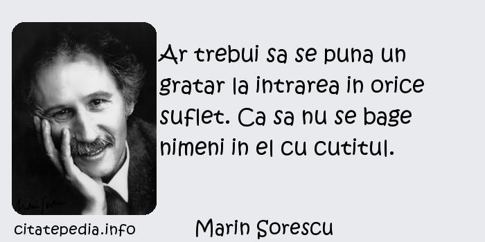 Marin Sorescu - Ar trebui sa se puna un gratar la intrarea in orice suflet. Ca sa nu se bage nimeni in el cu cutitul.