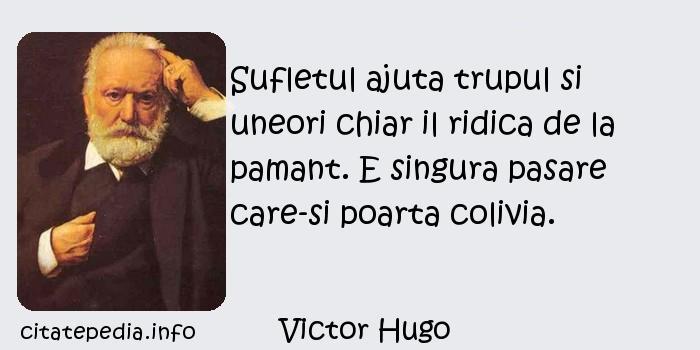 Victor Hugo - Sufletul ajuta trupul si uneori chiar il ridica de la pamant. E singura pasare care-si poarta colivia.