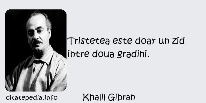 Khalil Gibran - Tristetea este doar un zid intre doua gradini.