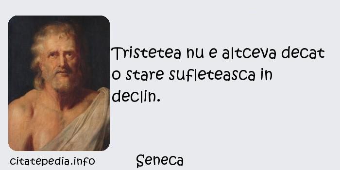 Seneca - Tristetea nu e altceva decat o stare sufleteasca in declin.