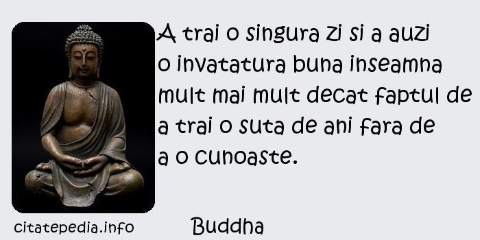 Buddha - A trai o singura zi si a auzi o invatatura buna inseamna mult mai mult decat faptul de a trai o suta de ani fara de a o cunoaste.