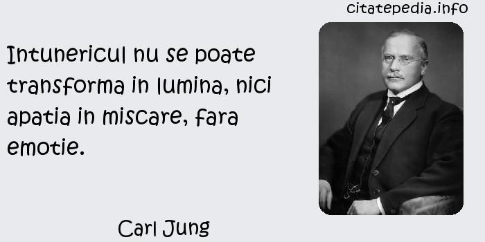 Carl Jung - Intunericul nu se poate transforma in lumina, nici apatia in miscare, fara emotie.