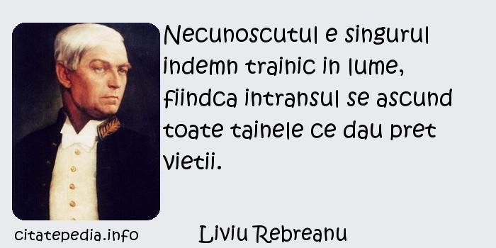 Liviu Rebreanu - Necunoscutul e singurul indemn trainic in lume, fiindca intransul se ascund toate tainele ce dau pret vietii.