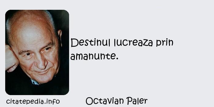 Octavian Paler - Destinul lucreaza prin amanunte.