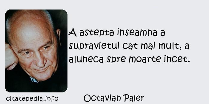 Octavian Paler - A astepta inseamna a supravietui cat mai mult, a aluneca spre moarte incet.