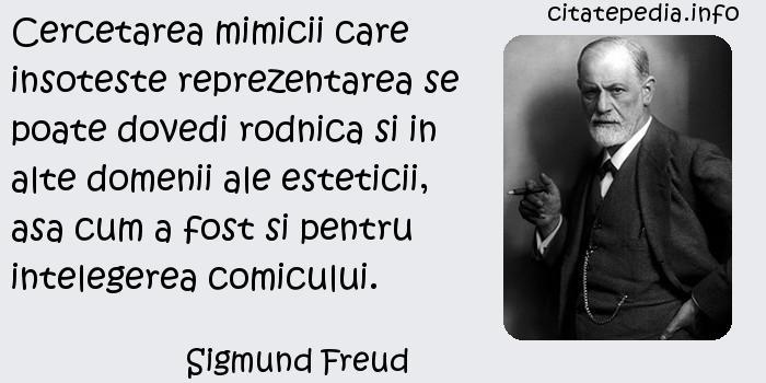 Sigmund Freud - Cercetarea mimicii care insoteste reprezentarea se poate dovedi rodnica si in alte domenii ale esteticii, asa cum a fost si pentru intelegerea comicului.