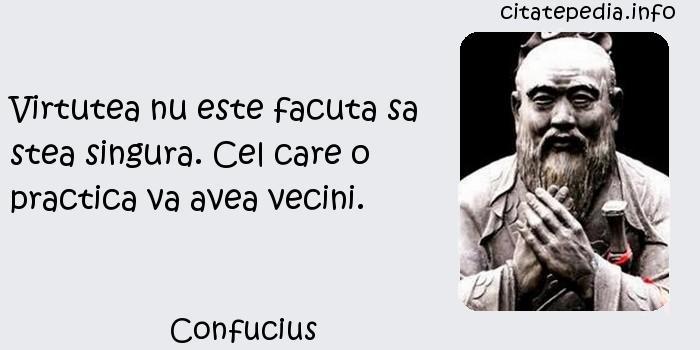 Confucius - Virtutea nu este facuta sa stea singura. Cel care o practica va avea vecini.