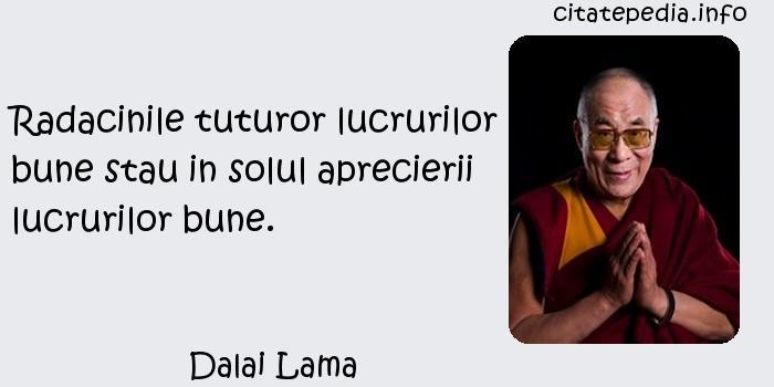 Dalai Lama - Radacinile tuturor lucrurilor bune stau in solul aprecierii lucrurilor bune.