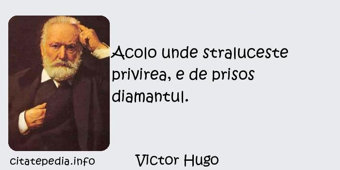 Victor Hugo - Acolo unde straluceste privirea, e de prisos diamantul.