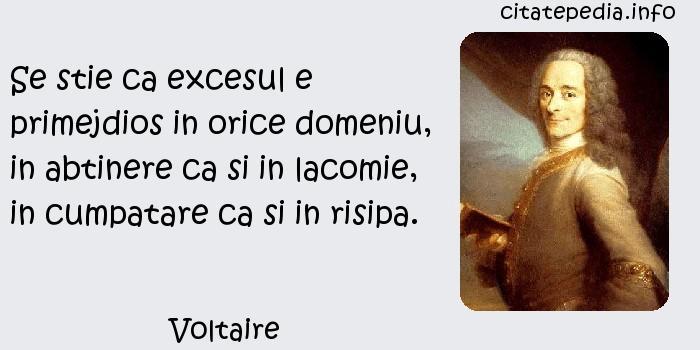 Voltaire - Se stie ca excesul e primejdios in orice domeniu, in abtinere ca si in lacomie, in cumpatare ca si in risipa.